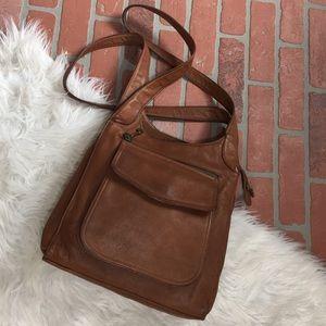 Fossil cognac leather vintage shoulder bag
